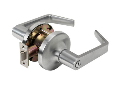 Tell Cortland Satin Chrome Storeroom Lockset ANSI Grade 2 2 in.