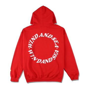 W&S (circle) diff-color HOODIE / RED (CS-198)