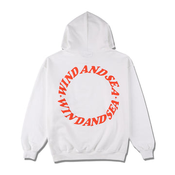 W&S (circle) diff-color HOODIE / WHITE (CS-198)