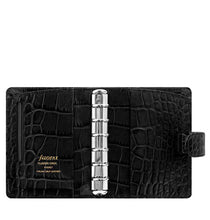 Load image into Gallery viewer, Filofax Classic Croc Print Pocket Ebony Leather Organizer Agenda 2021 Diary