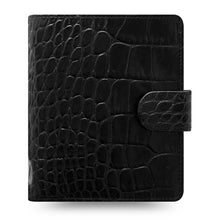 Load image into Gallery viewer, Filofax Classic Croc Print Pocket Size Ebony Leather Organizer Agenda 2020 Diary