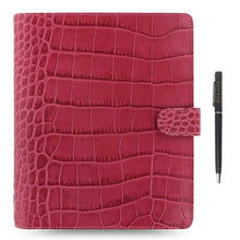 Load image into Gallery viewer, Filofax Classic Croc Print A5 Size Leather Organizer Agenda with Free DiLoro Ballpoint Pen - 2020 Diary - PensAndLeather