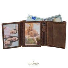 Load image into Gallery viewer, DiLoro Men's Vertical Leather Bifold Flip ID Zip Coin Wallet Dark Hunter Brown fully Open
