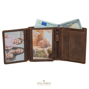 DiLoro Men's Vertical Leather Bifold Flip ID Zip Coin Wallet Dark Hunter Brown fully Open