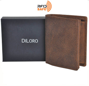 DiLoro Men's Vertical Leather Bifold Flip ID Zip Coin Wallet RFID Save in Dark Hunter Brown with Gift Box and RFID Logo