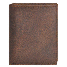 Load image into Gallery viewer, DiLoro Men's Vertical Leather Bifold Flip ID Zip Coin Wallet in Dark Hunter Brown with RFID Protection - Front View