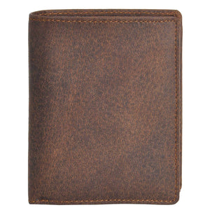 DiLoro Men's Vertical Leather Bifold Flip ID Zip Coin Wallet in Dark Hunter Brown with RFID Protection - Front View