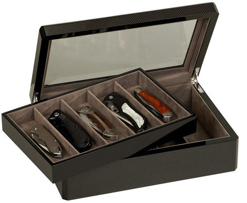 Venlo 10 Knife Display Case Carbon Fiber 15 with Glass Top (kc-10-cf15) - PensAndLeather
