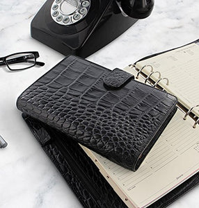 Filofax Classic Croc Print Leather Organizer Agenda Calendar with DiLoro Jot Pad Refills (Compact Personal, Ebony 2019) - PensAndLeather