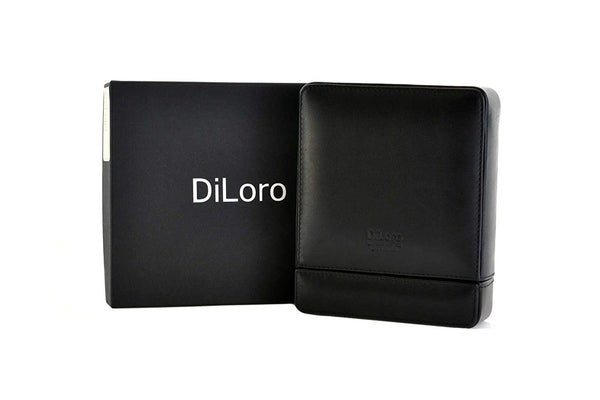 DiLoro Travel Watch Box Storage Case in Black Italian Leather Holds Two Mens Wrist Watches - PensAndLeather