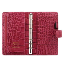 "Load image into Gallery viewer, Filofax Classic Croc Print Leather Organizer Agenda Diary Calendar Bundle with DiLoro Ballpoint Pen (Fuchsia 2021 with Pen, Personal Compact Paper Size 6.73"" x 3.74"")"