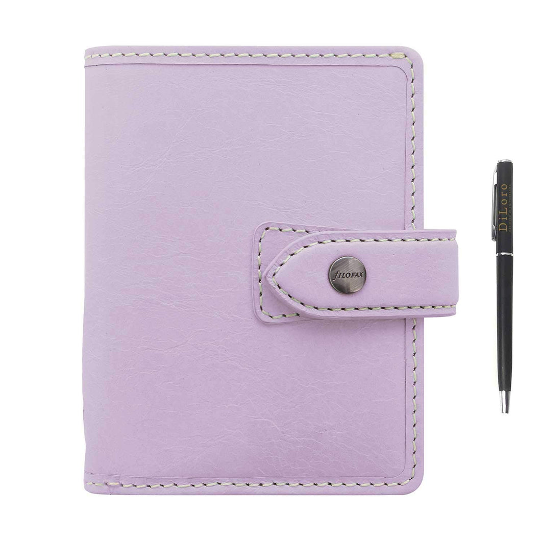 Filofax Malden Leather Organizer Agenda Calendar Bundle with DiLoro Ballpoint Pen (Orchid 2021 with Pen, Pocket Paper Size 4.72