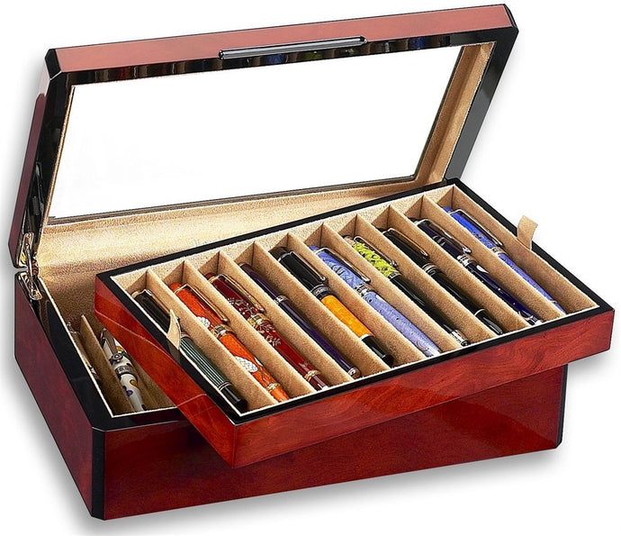 Venlo Triple Burlwood Collection 20 Pen Case Glass Top - PensAndLeather