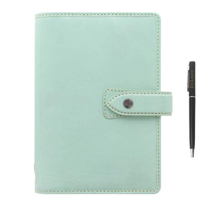 "Filofax Malden Leather Organizer Agenda Calendar Bundle with DiLoro Ballpoint Pen (Duck Egg 2021 with Pen, Personal Paper Size 6.73"" x 3.74"")"