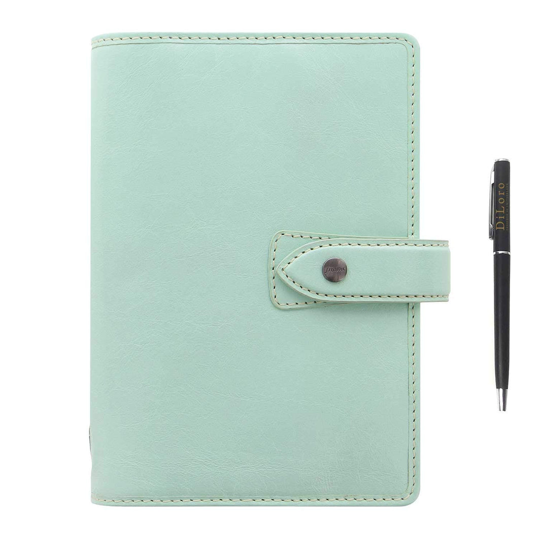 Filofax Malden Leather Organizer Agenda Calendar Bundle with DiLoro Ballpoint Pen (Duck Egg 2021 with Pen, Personal Paper Size 6.73