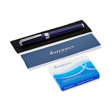 Load image into Gallery viewer, Waterman Exception Fountain Pen Slim Blue Lacquer ST Medium Point