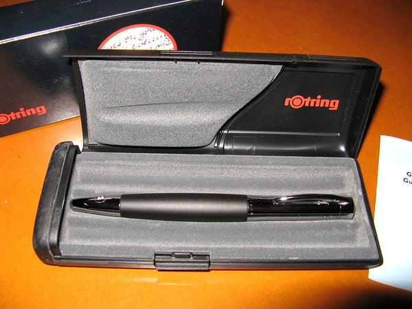 Rotring Initial Fountain Pen Black Silver Medium Nib - PensAndLeather