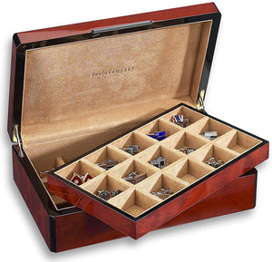 Venlo Triple Burlwood Thirty Holder Cufflink Case - PensAndLeather