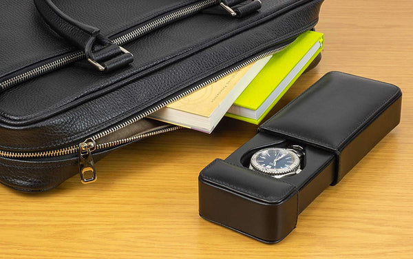 DiLoro Travel Watch Box Storage Case in Black Italian Leather Holds One Mens Wrist Watch