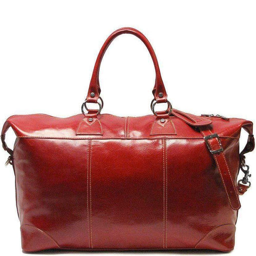 Floto Capri Italian Leather Duffle Travel Bag Suitcase red