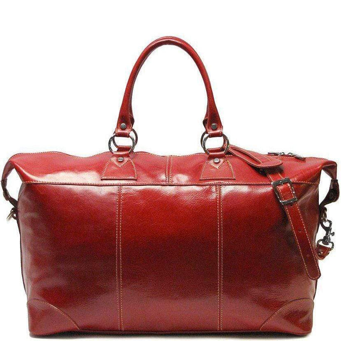 Floto Capri Italian Leather Duffle Bag Carryon Suitcase Luggage in Red