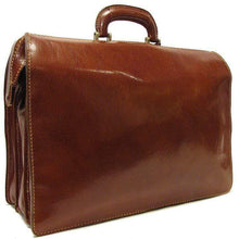 Load image into Gallery viewer, Floto Ciabatta Italian Leather Men's Doctor Briefcase Attache Case in Vecchio Brown - Side Back View