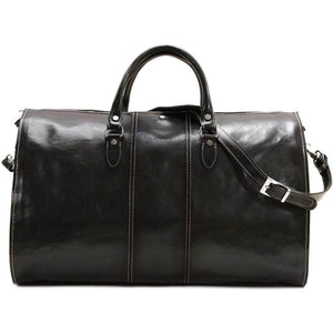 Floto Venezia Leather Garment Duffle - Black