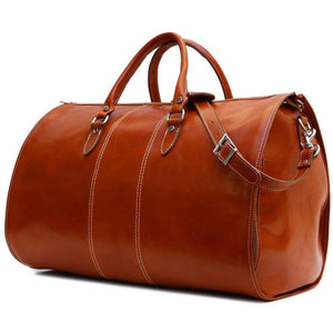 Floto Venezia Leather Garment Duffle - Side View with Strap