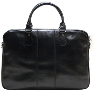 Floto Venezia Slim Leather Brief Made in Italy - Black