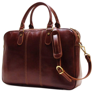 Floto Venezia Slim Leather Brief Made in Italy - Vecchio Brown Side View