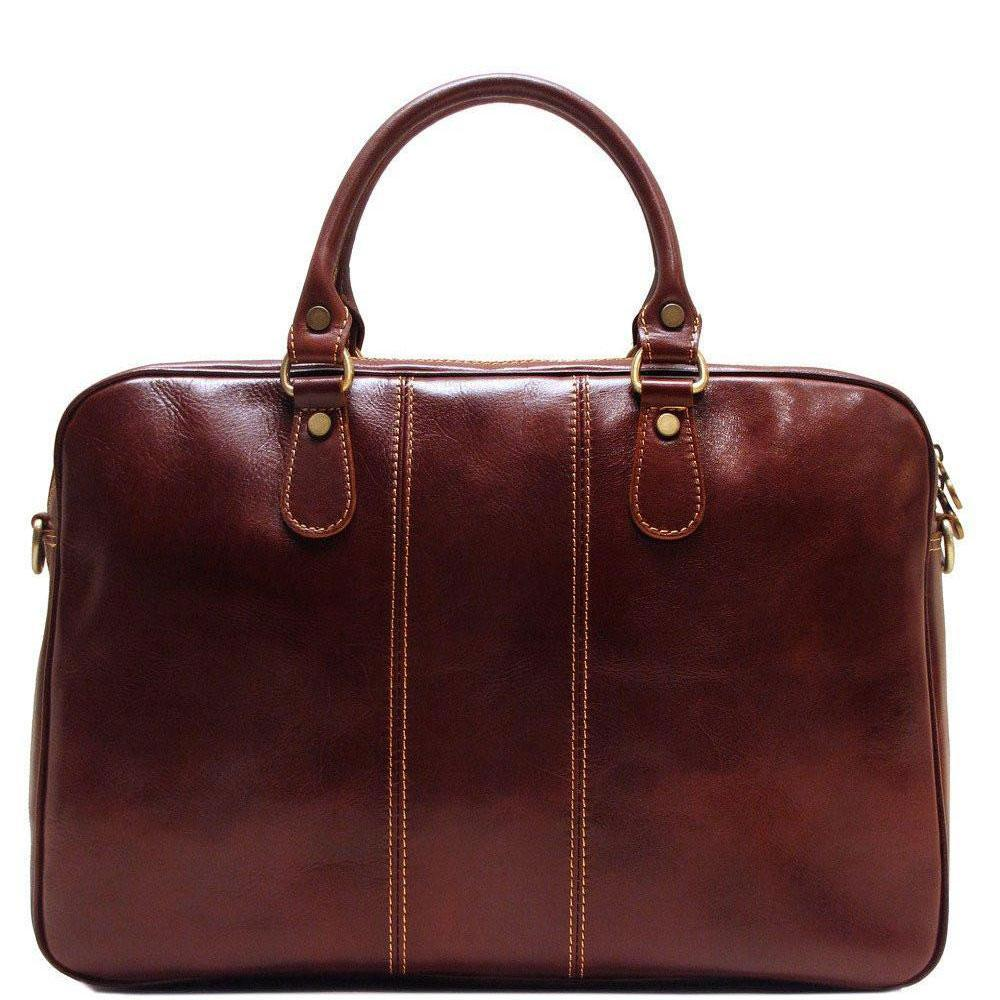Floto Venezia Slim Leather Brief Made in Italy - Vecchio Brown