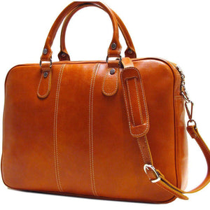Floto Venezia Slim Leather Brief Made in Italy - Olive (Honey) Brown Side View