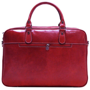 Floto Venezia Slim Leather Brief Made in Italy - Back View (Tuscan Red)