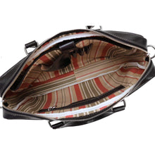 Load image into Gallery viewer, Floto Avelo Italian Leather Laptop Messenger Bag Briefcase in Black - Inside View