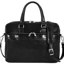 Load image into Gallery viewer, Floto Avelo Italian Leather Laptop Messenger Bag Briefcase in Black