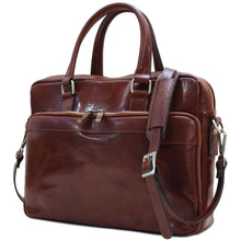 Load image into Gallery viewer, Floto Avelo Italian Leather Laptop Messenger Bag Briefcase in Vecchio Brown - Side View