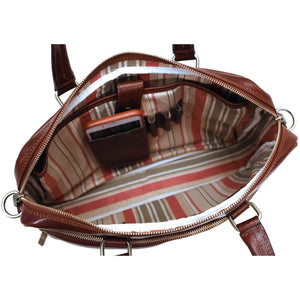 Floto Avelo Italian Leather Laptop Messenger Bag Briefcase in Vecchio Brown - Inside View