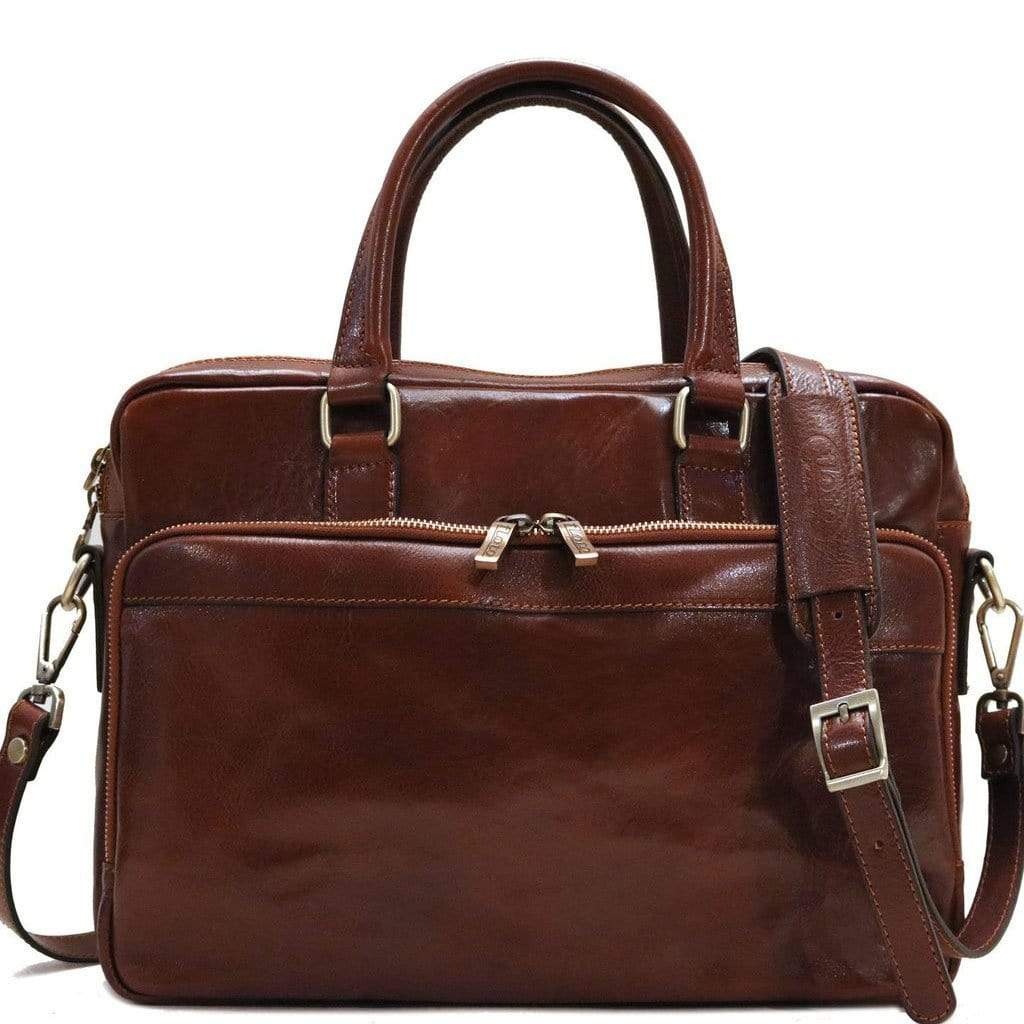 Floto Avelo Italian Leather Laptop Messenger Bag Briefcase in Vecchio Brown