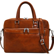 Load image into Gallery viewer, Floto Avelo Italian Leather Laptop Messenger Bag Briefcase in Olive (Honey) Brown