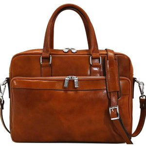 Floto Avelo Italian Leather Laptop Messenger Bag Briefcase in Olive (Honey) Brown