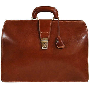 leather briefcase attache floto ciabatta brown