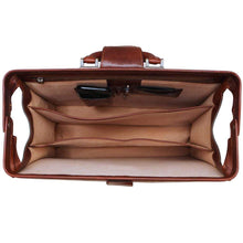 Load image into Gallery viewer, Floto Ciabatta Italian Leather Briefcase Attache with Combination Lock - Inside View