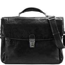 Load image into Gallery viewer, Floto Firenze Italian Laptop Leather Men's Briefcase Messenger Bag - Black