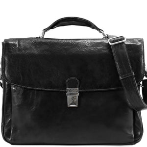Floto Firenze Italian Laptop Leather Men's Briefcase Messenger Bag - Black