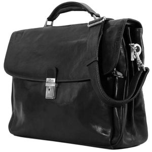 Floto Firenze Italian Laptop Leather Men's Briefcase Messenger Bag - Black (Side View)