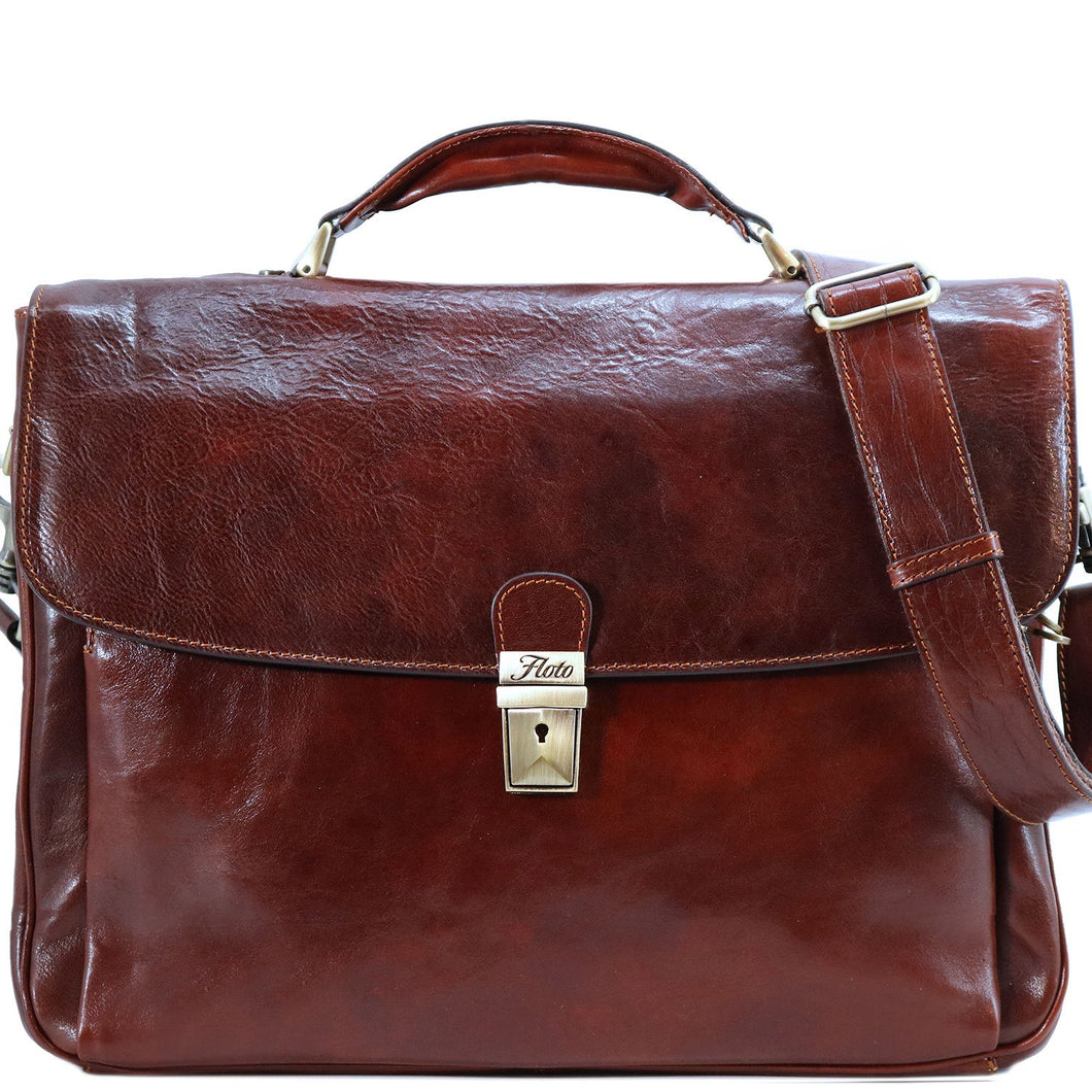 Floto Firenze Italian Laptop Leather Men's Briefcase Messenger Bag - Vecchio Brown