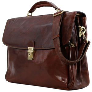 Floto Firenze Italian Laptop Leather Men's Briefcase Messenger Bag - Vecchio Brown (Side View)