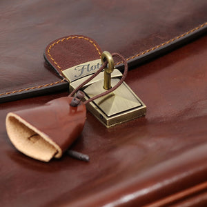 Floto Firenze Italian Laptop Leather Men's Briefcase Messenger Bag - Vecchio Brown (Detail Lock View)