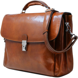 Floto Firenze Italian Laptop Leather Men's Briefcase Messenger Bag - Honey Brown (Side View)