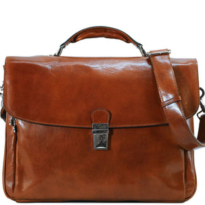 Floto Firenze Italian Laptop Leather Men's Briefcase Messenger Bag - Honey Brown